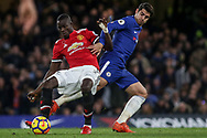 Eric Bailly of Manchester United tackled by Alvaro Morata of Chelsea.<br /> Premier league match, Chelsea v Manchester United at Stamford Bridge in London on Sunday 5th November 2017.<br /> pic by Kieran Clarke, Andrew Orchard sports photography.