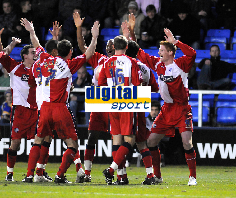 Photo: Paul Greenwood/Richard Lane Photography. Shrewbury Town v Wycombe Wanderers. Coca Cola Two. 20/12/2008. <br /> Wycombe's Matt Harrold, right, celebrates his goal.