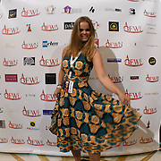 Lisa Geertjes of Designer VanElse team showcases it latest collection at the Africa Fashion Week London (AFWL) at Freemasons' Hall on 11 August 2018, London, UK.
