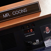 A photo of the late Justice Ruth Bader Ginsburg is seen at the seat of Sen. Chris Coons (D-Del.) during a Senate Judiciary Committee business meeting prior to the fourth day for the confirmation hearing of President Donald Trump's Supreme Court nominee Judge Amy Coney Barrett on Thursday, October 15, 2020.