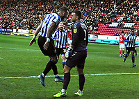 Football - 2019 / 2020 Sky Bet (EFL) Championship - Charlton Athletic vs. Sheffield Wednesday<br /> <br /> Steven Fletcher of Sheff Wed celebrates scoring from the penalty spot into the face of charlton goalkeeper, Dillon Phillips for goal no 2, at The Valley.<br /> <br /> COLORSPORT/ANDREW COWIE