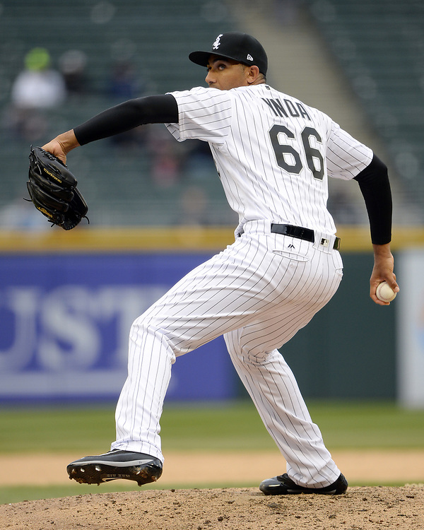 CHICAGO - APRIL 04:  Michael Ynoa #66 of the Chicago White Sox pitches against the Detroit Tigers on April 04, 2017 at Guaranteed Rate Field in Chicago, Illinois.  The Tigers defeated the White Sox 6-3.  (Photo by Ron Vesely)   Subject:  Michael Ynoa