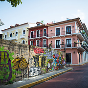 Some of the colorful street art in Casco Viejo, the historic old town of Panama City, Panama.