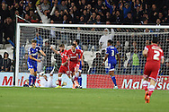 Cardiff city's Federico Macheda © celebrates after he scores his sides 2nd goal. Skybet football league championship match, Cardiff city v Ipswich Town at the Cardiff city stadium in Cardiff, South Wales on Tuesday 21st October 2014<br /> pic by Andrew Orchard, Andrew Orchard sports photography.