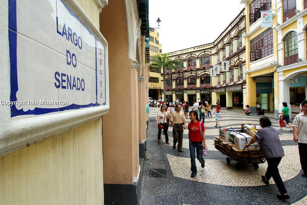 View of famous Largo Do Senado Square in historic central Macau China