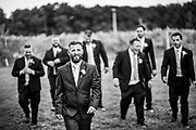A groom and his groomsmen at Valenzano Winery in Shamong, New Jersey.