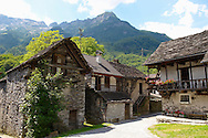 Traditional stone farm houses, Costar, Val Verzasca, Ticino, Swiss alps
