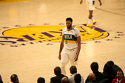 February 27, 2019 - Los Angeles, CA, U.S. - LOS ANGELES, CA - FEBRUARY 27: New Orleans Pelicans Forward Anthony Davis (23) walks to bench during second half of the New Orleans Pelicans versus Los Angeles Lakers game on February 27, 2019, at Staples Center in Los Angeles, CA. (Photo by Icon Sportswire) (Credit Image: © Icon Sportswire/Icon SMI via ZUMA Press)