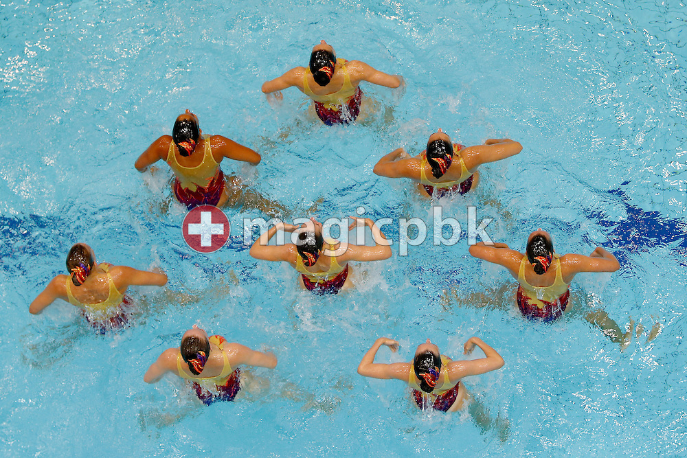Team Switzerland performs during the Women's Team Free Synchronized (synchronised) Swimming Final during the LEN European Swimming Championships at Europa-Sportpark in Berlin, Germany, Saturday, Aug. 16, 2014. (Photo by Patrick B. Kraemer / MAGICPBK)