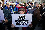People's Vote supporters assembled in Parliament Square for the Blindfold Brexit protest ahead of a crunch debate in the House of Commons to illustrate that this Brexit would provide no clarity and no closure about our future relationship with Europe on 14th February 2019 in London, England, United Kingdom.