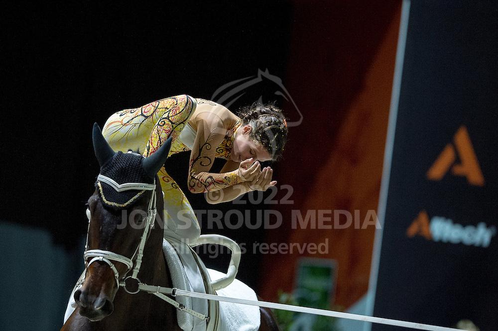 Carola Sneekes, (NED), Nolan, Marjo Sneekes - Individuals Women Freestyle Vaulting - Alltech FEI World Equestrian Games™ 2014 - Normandy, France.<br /> © Hippo Foto Team - Jon Stroud<br /> 03/09/2014