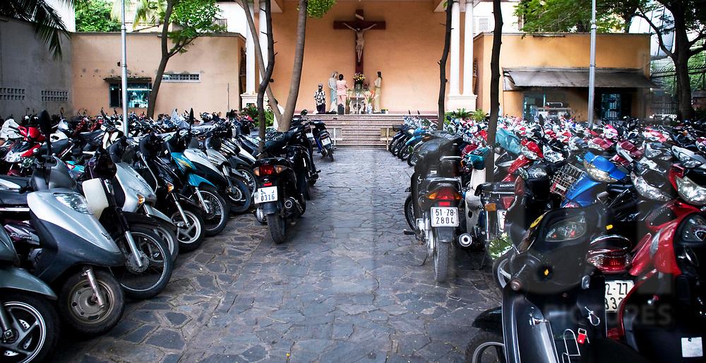Parking lot in Huyen Sy Church, Ho Chi Minh city, Vietnam, Southeast Asia