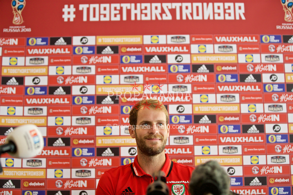 CARDIFF, WALES - Thursday, September 1, 2016: Wales' goalkeeper Owain Fon Williams during a press conference at Hensol Castle  ahead of the 2018 FIFA World Cup Qualifying Group D match against Moldova. (Pic by David Rawcliffe/Propaganda)