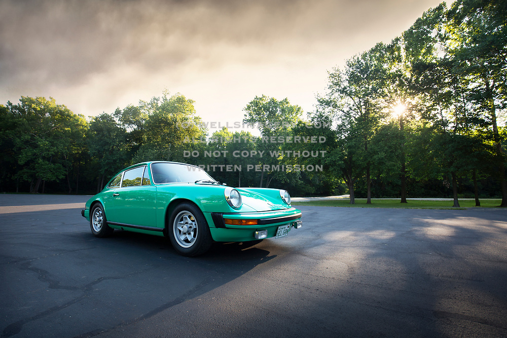 Image of a Mint Green 1974 Porsche 911 at Lake of the Ozarks, Missouri, American Midwest by Randy Wells
