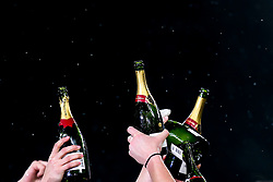 England Women celebrate winning the Women's Six Nations and Grand Slam by raising champagne bottles in the air - Mandatory by-line: Robbie Stephenson/JMP - 16/03/2019 - RUGBY - Twickenham Stadium - London, England - England Women v Scotland Women - Women's Six Nations