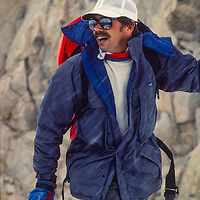 Mountain guide John Fiscer ascend a backcountry chute near Mammoth Lakes, CA.