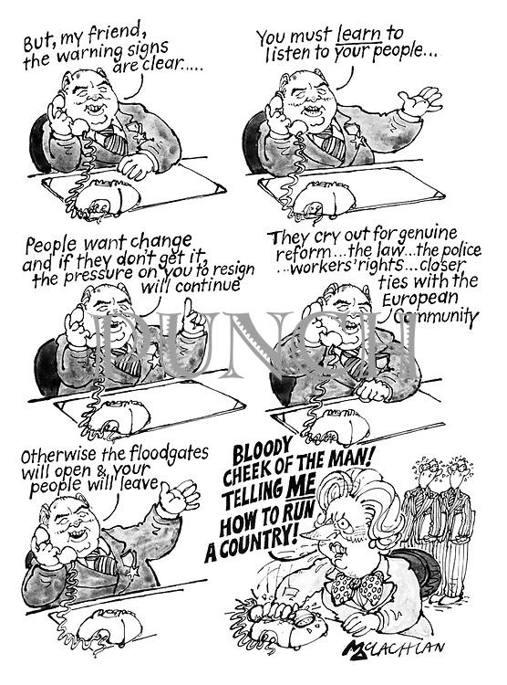 (Mikhail Gorbachev gives political advice to Margaret Thatcher)