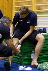 Teo Djekic and Zoran Dragic during practice session of Slovenian National Basketball team during training camp for Eurobasket Lithuania 2011, on July 12, 2011, in Arena Vitranc, Kranjska Gora, Slovenia. (Photo by Vid Ponikvar / Sportida)