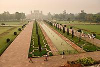 A view of the gardrens & main gate from the Taj Mahal in Agra, Uttar Pradesh, India