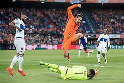 09.06.2017, De Kuip Stadium, Rotterdam, NED, FIFA WM 2018 Qualifikation, Niederlande vs Luxemburg, Gruppe A, im Bild Vincent Janssen (M) of Netherlands and Ralph Schon (2R) of Luxemburg // Vincent Janssen (M) of Netherlands and Ralph Schon (2R) of Luxemburg during the FIFA World Cup 2018, group A qualifying match between Netherlands and Luxemburg at the De Kuip Stadium in Rotterdam, Netherlands on 2017/06/09. EXPA Pictures © 2017, PhotoCredit: EXPA/ Focus Images/ Joep Joseph Leenen<br /> <br /> *****ATTENTION - for AUT, GER, FRA, ITA, SUI, POL, CRO, SLO only*****