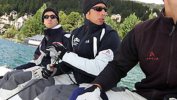 On board with Mathieu Richard and his crew at the St Moritz Match Cup 2010. World Match Racing Tour. St Moritz, Switzerland. 31st August 2010. Photo: Ian Roman/Subzero Images.