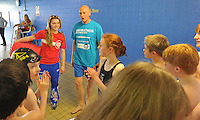 Sport Relief Master Class –Hannah Starling and Duncan Goodhew providing a master class in swimming for pupils from Fulneck School<br /> <br /> Photo by Dave Howarth/CameraSport<br /> <br /> Commercial - Sport Relief -  publicity shoot - Friday 28th February 2014 - Spenborough Pool & Fitness Complex,  - Liversedge<br /> <br /> © CameraSport - 43 Linden Ave. Countesthorpe. Leicester. England. LE8 5PG - Tel: +44 (0) 116 277 4147 - admin@camerasport.com - www.camerasport.com