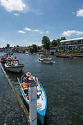 Henley-on-Thames. United Kingdom.  2017 Henley Royal Regatta, Henley Reach, River Thames. <br /> Picnic boats, moored on the booms<br /> <br /> <br /> 13:37:45  Sunday  02/07/2017   <br /> <br /> [Mandatory Credit. Peter SPURRIER/Intersport Images.