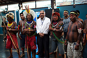 Conference with indigenous community leaders and Norte Energia who are building the Belo Monte dam. A third of Altamira in the state of Para, Brazil will be flooded, nearly all the people affected are the poorest in society or indigenous communities that will have nowhere to go if they were made homeless, and the Government payoff for their properties is low therefore making it difficult to find new accomodation. At present, the Arara land is protected from development, sale or new residents as it has been their ancestral land for hundreds of years, this is now one of the key areas under threat