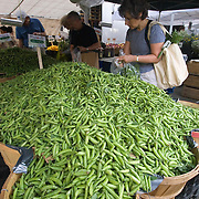 Woman buying peas at Union Square Market in Manhattan