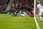 Goal! Yuri Zhirkov (Zenit St Petersburg) scores from close range to give Russia the lead during the UEFA European 2020 Qualifier match between Scotland and Russia at Hampden Park, Glasgow, United Kingdom on 6 September 2019.