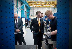 RE-ISSUE NOTE THIS IS A TODAY PICTURE © London News Pictures. 10/03/2012.Newcastle, UK. Liberal Democrat leader NICK CLEGG and Business Secretary VINCE CABLE speaking to craft apprentice Ben Jennnings (20)  at Siemens Energy Service Training Centre in Newcastle Upon Tyne on March 11th 2012. The Liberal Domocrat Spring Conference is being held in Newcastle this weekend. Photo credit : Ben Cawthra/LNP
