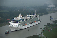 Celebrity Solstice, the most widely heralded ship to enter the cruise industry this year, sets sail from Papenburg Germany, where she was built.  This is the first of 5 Solstice class ships Celebrity Cruises will launch between now and 2012 and the first cruise ship with an authentic grass lawn on its top deck...