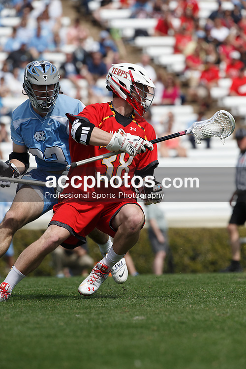 CHAPEL HILL, NC - MARCH 22: Henry West #38 of the Maryland Terrapins during a game against the North Carolina Tar Heels on March 22, 2014 at Kenan Stadium in Chapel Hill, North Carolina. North Carolina won 11-8. (Photo by Peyton Williams/Inside Lacrosse)