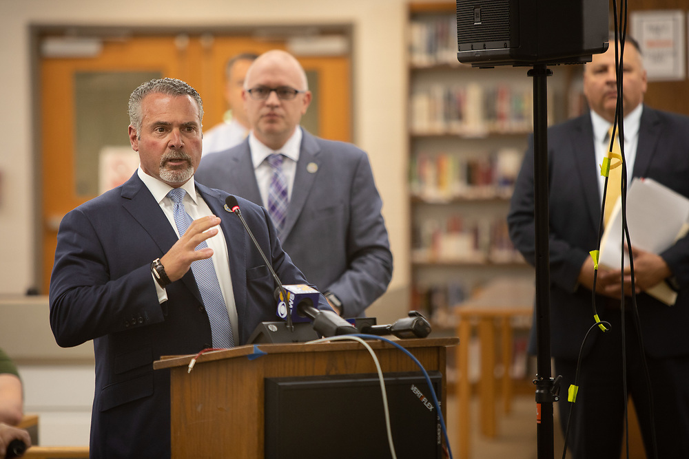 Bloomfield Police Director Samuel A. DeMaio speaks during a meeting of the Bloomfield Board of Education. The Board considering hiring armed officers for each elementary school. <br /> 6/5/18 Photo by John O'Boyle