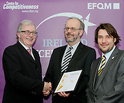 Tom Walsh of Co Offaly Citizen Information Centre receive their award from Tony McQuinn chief executive CIB and Matt Fisher COO, EFQM at the EFQM Ireland Excellence Awards ceremony in association with Fáilte Ireland and the Centre for Competitiveness at the Galway Bay Hotel on Friday night. Photo:- Andrew Downes Photography / No Fee