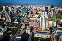 Mongolie, Oulan Bator, vue aerienne du centre ville // Mongolia, Ulan Bator, aerial view of cityscape