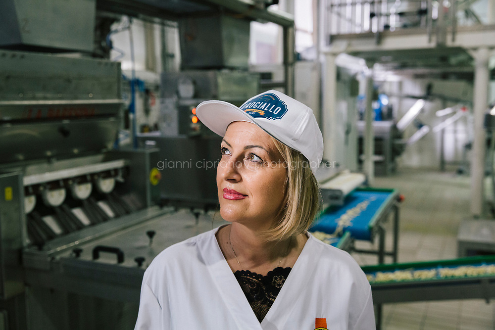 CONTURSI TERME, ITALY - 11 FEBRUARY 2020: Antonella Milito  (52), CEO of Orogiallo, poses for a portrait in her family-owned pasta factory in Contursi Terme, Italy, on February 11th 2020.<br /> <br /> In April 2019, Snam was the first company in Europe to introduce a blend of 5% hydrogen and natural gas in its transmission network. The trial involved supplying H2NG (hydrogen-natural gas blend) for a month to two industrial companies in the area, a pasta factory and a mineral water bottling company. The trial at Contursi was repeated in December 2019, doubling the hydrogen blend to 10%.<br /> Applying a permanent 10% hydrogen blend to the total gas transported annually by Snam would mean that 7 billion cubic meters could be injected into the network each year, which is equivalent to the annual consumption of 3 million households. This would allow for a potential reduction of carbon dioxide emissions by 5 million tons.<br /> <br /> Italy is optimally positioned to become a leading hub for green hydrogen from North Africa to<br /> Europe. Italy could use its solar resources and its existing connection to North Africa (which has even better<br /> solar resources) to set up a leading hydrogen hub.<br /> <br /> Snam is one of the world's leading energy infrastructure companies and first in Europe by gas transmission network size (32,625 km in Italy, over 41,000 with international subsidiaries) and storage capacity (16.9 billion cubic meters in Italy, more than 20 bcm with international subsidiaries).<br /> <br /> In September 2018, together with other European companies, Snam signed a Hydrogen Initiative declaration to support hydrogen's potential as a sustainable energy source. The signatory companies have undertaken to gradually integrate hydrogen into gas transmission networks and to encourage their use as a solution for energy storage, as well as to support the development of hydrogen produced by electrolysis, which allows more efficient use of energy intermittent ren