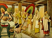 """THE ROD OF AARON DEVOURS THE OTHER RODS. Ex. vii. 12, 1 """"For they cast down every man his rod, and they became serpents: but Aaron's rod swallowed up their rods. And he hardened Pharaoh's heart, that he hearkened not unto them; as the Lord had said"""" From the book ' The Old Testament : three hundred and ninety-six compositions illustrating the Old Testament ' Part I by J. James Tissot Published by M. de Brunoff in Paris, London and New York in 1904"""
