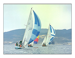 The Clyde Cruising Club's 1977 Tomatin Trophy the first Scottish Series held at Tarbert Loch Fyne.  An overnight race from Gourock to Campbeltown then on to Olympic Triangles in Loch Fyne. ..K4134 Sherpa and Opposition head downwind.
