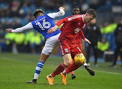Birmingham City's Sam Gallagher battles with Sheffield Wednesday's Liam Palmer