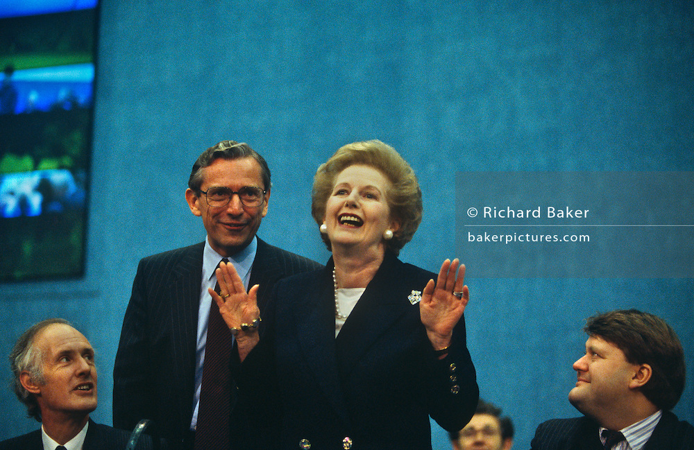 Ex-Prime Minister Margaret Thatcher receives applause after her Brighton conference speech 2 years after being deposed.
