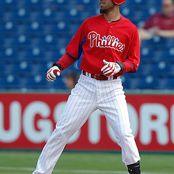 February 24, 2011; Clearwater, FL, USA; Philadelphia Phillies shortstop Wilson Valdez (21) during a spring training exhibition game against the Florida State Seminoles at Bright House Networks Field. Mandatory Credit: Derick E. Hingle