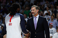 United State´s Faried receives the golden medal from Spain´s king Felipe VI during FIBA Basketball World Cup Spain 2014 final award ceremony after winning against Serbia at `Palacio de los deportes´ stadium in Madrid, Spain. September 14, 2014. (ALTERPHOTOSVictor Blanco)