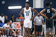 THOUSAND OAKS, CA Sunday, August 12, 2018 - Nike Basketball Academy. Isaiah Stewart 2019 #23 of La Lumiere School rests during a stopped play. <br /> NOTE TO USER: Mandatory Copyright Notice: Photo by Jon Lopez / Nike