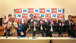 """PORTO ALEGRE, RS, BRASIL, 15-03-2018, 20h24'57"""":  O empresário Rubens Rebés e o advogado Tomaz Schuch são os novos dirigentes do AVANTE, no RS. A posse da direção estadual do partido contou com a presença do Deputado Federal e presidente nacional, Luís Tibê (MG), e ocorreu na noite de quinta-feira (15/3) no Hotel Intercity. AVANTE é um partido político brasileiro, fundado como Partido Trabalhista do Brasil (PTdoB) por dissidentes do Partido Trabalhista Brasileiro (PTB), em 1989. Seu número eleitoral é o 70. O novo nome, criado a partir do desejo das pessoas que lutam por um país que segue em frente, se aproxima ainda mais dos verdadeiros objetivos do partido, alicerçado ao longo de sua história e atrelado aos novos pilares: compromisso, prosperidade, humanidade, coletividade, diálogo, transparência e liberdade. (Foto: Gustavo Roth / Agência Preview) © 15MAR18 Agência Preview - Banco de Imagens"""