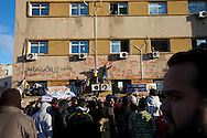 Protesters chant in Benghazi on March 1, 2011.