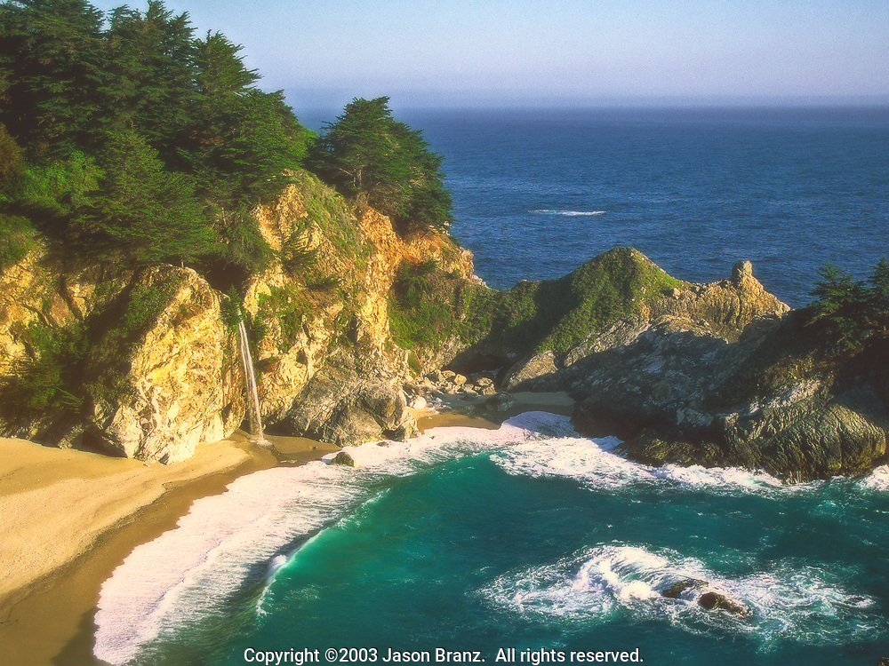 McWay Falls, a waterfall that plunges into a cove along the Big Sur Coast of California.