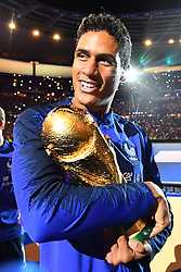 September 9, 2018 - Paris, France - Raphael Varane of France celebrate with the World Cup Trophy after the UEFA Nations League A group official match between France and Netherlands at Stade de France on September 9, 2018 in Paris, France. This is the first match of the French football team at the Stade de France since their victory in the final of the World Cup in Russia. (Credit Image: © Mehdi Taamallah/NurPhoto/ZUMA Press)