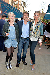 PICTURE SHOWS:-Left to right, DAISY BLOUNT, her brother JAMES BLUNT and his wife SOPHIA.<br /> Tuesday 14th April 2015 saw a host of London influencers and VIP faces gather together to celebrate the launch of The Ivy Chelsea Garden. Live entertainment was provided by jazz-trio The Blind Tigers, whilst guests enjoyed Moët & Chandon Champagne, alongside a series of delicious canapés created by the restaurant's Executive Chef, Sean Burbidge.<br /> The evening showcased The Ivy Chelsea Garden to two hundred VIPs and Chelsea<br /> residents, inviting guests to preview the restaurant and gardens which marry<br /> approachable sophistication and familiar luxury with an underlying feeling of glamour and theatre. The Ivy Chelsea Garden's interiors have been designed by Martin Brudnizki Design Studio, and cleverly combine vintage with luxury, resulting in a space that is both alluring and down-to-earth.
