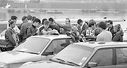 Staines, GREAT BRITAIN,   <br /> Crews preparing for teh trials at the British Rowing Men's Heavy Weight Assessment. Thorpe Park. Sunday 27.02.1987,<br /> <br /> [Mandatory Credit, Peter Spurrier / Intersport-images] 1987 GBR Men's H/Weight 3rd Assessment Thorpe Park, Surrey. UK